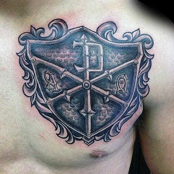 Mens Chi Rho Decorative Shield Chest Tattoos