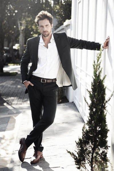 Mens Chic Black Suit Style Designs White Dress Shirt No Tie