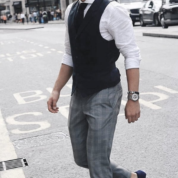 Mens Chic Business Casual Outfits Style Designs Black Vest With Tie