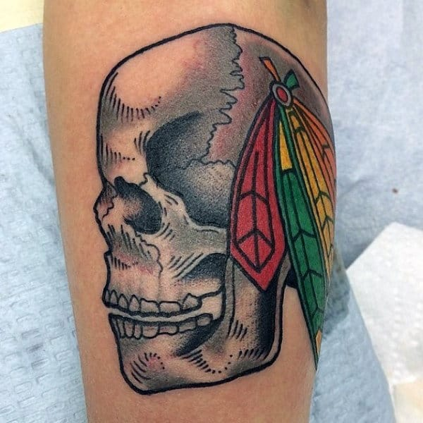 Mens Chicago Blackhawks Hockey Skull Tattoo On Arm