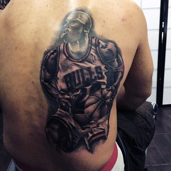 Mens Chicago Bulls Back Tattoo