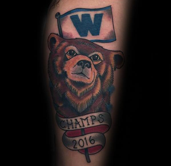 Mens Chicago Cubs Old School Traditional Arm Tattoo