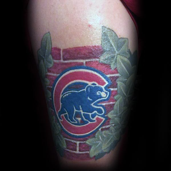 Mens Chicago Cubs Tattoo Design Inspiration On Thigh