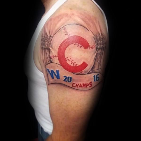 Mens Chicago Cubs Upper Arm Tattoo Design Ideas
