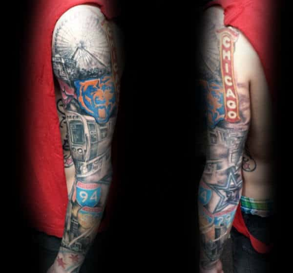 Mens Chicago Themed Flag Full Sleeve Tattoos