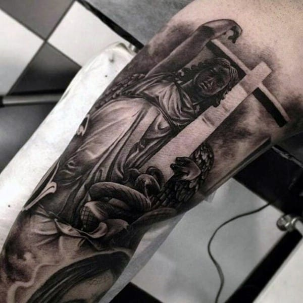 Mens Chicano Angel Holding Cross Realistic 3d Tattoo Design