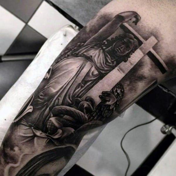 Mens Chicano Angel Holding Cross Realistic 3d Tattoo Design