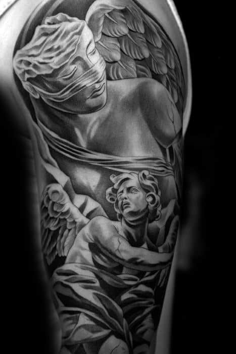 Mens Chicano Style Half Sleeve Angel Statue Tattoo Ideas