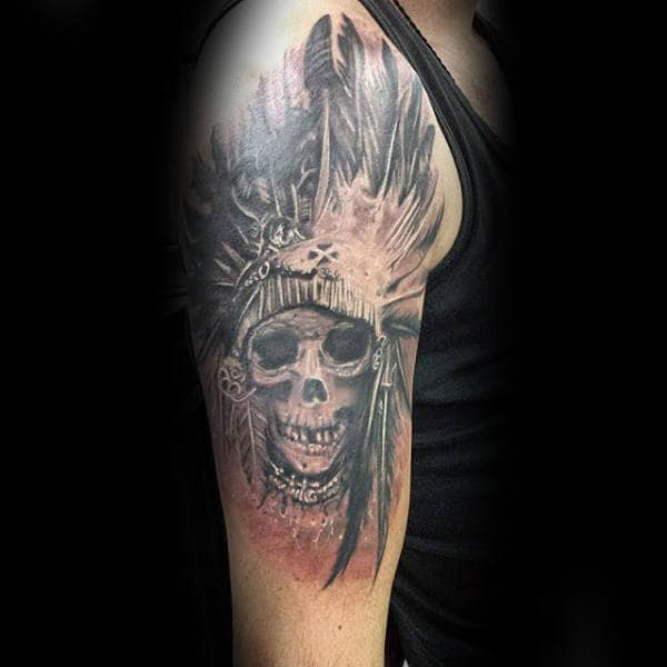 Mens Chief Indian Skull Upper Arm Tattoo Design Inspiration