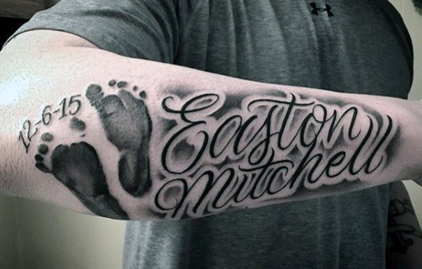 Mens Child Footprint With Name Forearm Tattoo