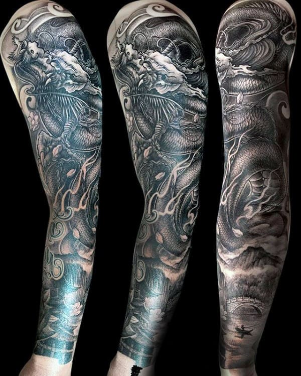 Mens Chinese Dragon Full Sleeve Tattoo Design With Shaded Black And Grey Ink