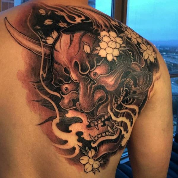 Mens Chinese Mask Upper Back Tattoo