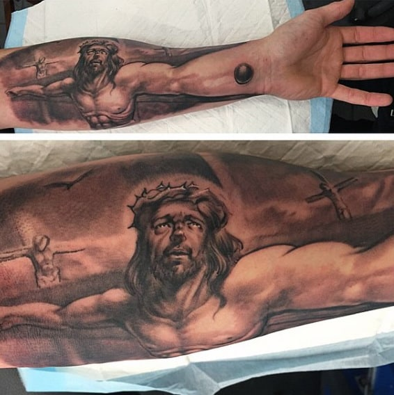 Mens Christian Warrior Tattoos Of Jesus On Cross