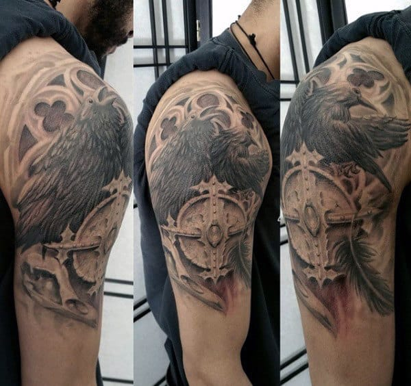 Mens Church Window Black Crow 3d Tattoo Ideas