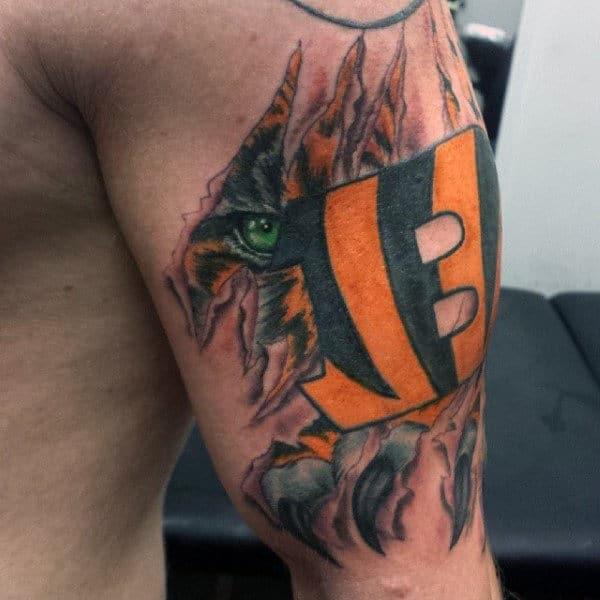 Mens Cincinnati Bengals Football Logo Tattoo On Arm