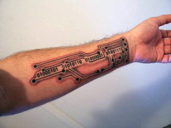 Mens Circuit Board Binary Inner Forearm Tattoos