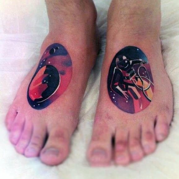 Mens Circular Astronaut Tattoo On Feet