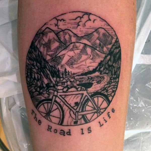Mens Circular Bicycle Stamp Tattoo On Legs