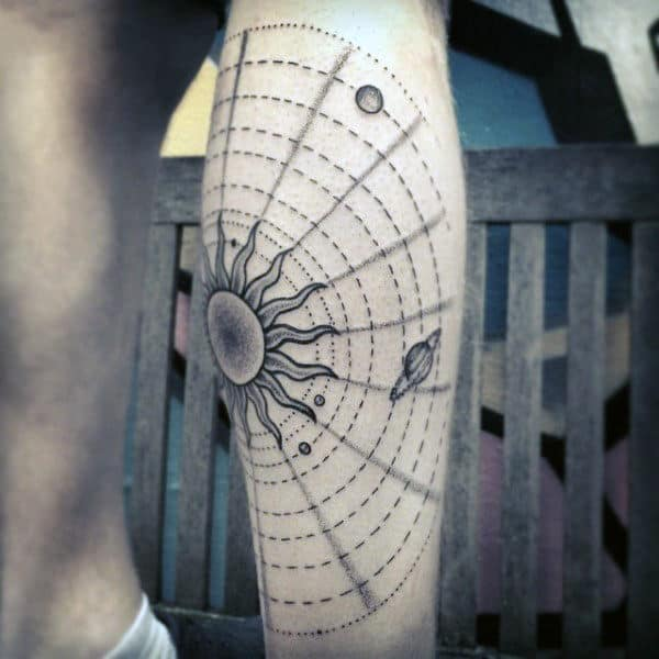 Mens Circular Disk Solar System Tattoo On Arms