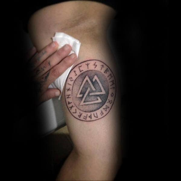 Mens Circular Valknut Run Tatto On Inner Arm Bicep
