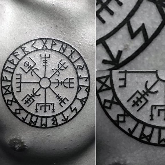 Mens Circular Viking Compass Upper Chest Tattoo