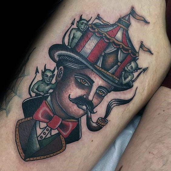 Mens Circus Tattoo On Thigh
