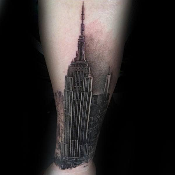 Mens City Skyline Empire State Building Inner Forearm Tattoo
