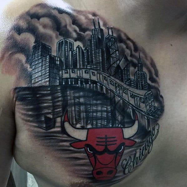 Mens City Skyline With Chicago Bulls Chest Tattoo