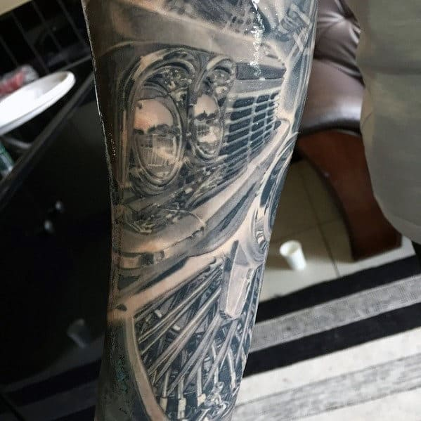 Mens Classic Car Hyper Realistic Tattoo Leg Sleeve