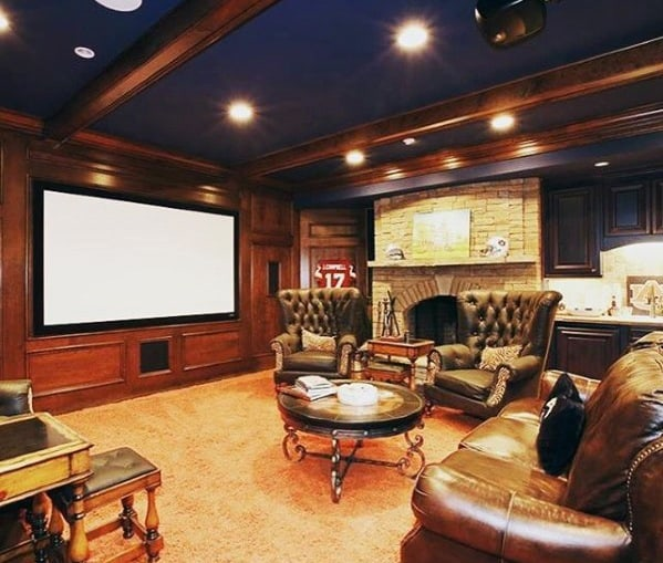 Mens Classy Lounge Basement Man Cave Designs