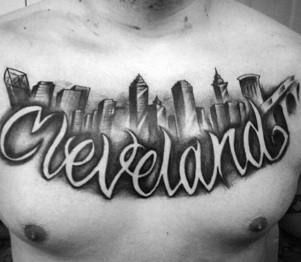 Mens Cleveland Skyline Negative Space Script Upper Chest Tattoos