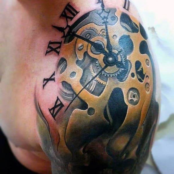 Men's Clock Biomechanical Tattoos