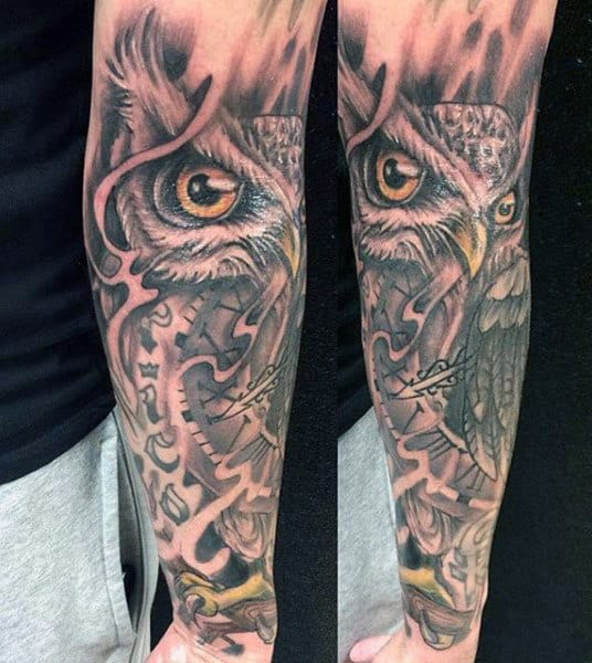 Men's Clock Gear Tattoos With Owl