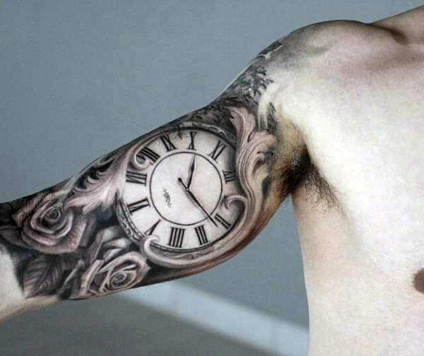 Men's Clock Tattoos Designs