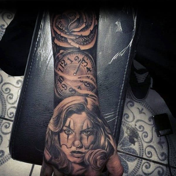 Mens Clock With Money Rose Sleeve And Hand Tattoo