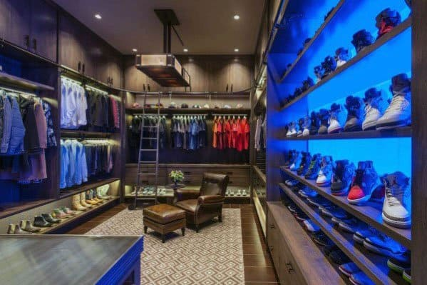 Mens Closet Lighting Ideas With Massive Shoe Display Shelves