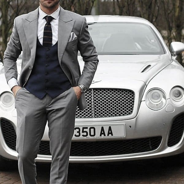 Mens Clothing Grey Suit Styles With Navy Blue Vest