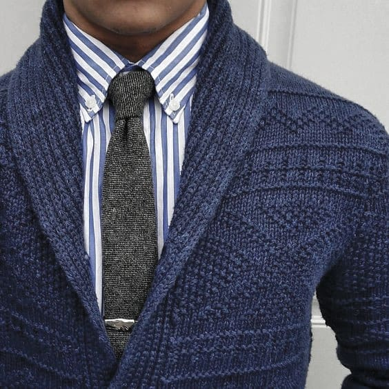 Mens Clothing Winter Outfits Styles Blue Sweater With Grey Tie