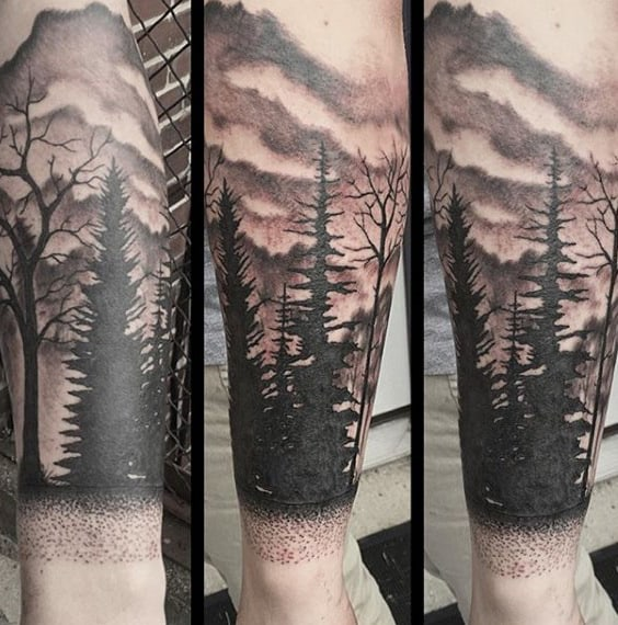 Mens Cloud Sky Tree Tattoo Forearm With Shaded Ink