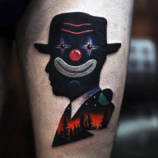 Mens Clown Face Amazing Thigh Tattoos