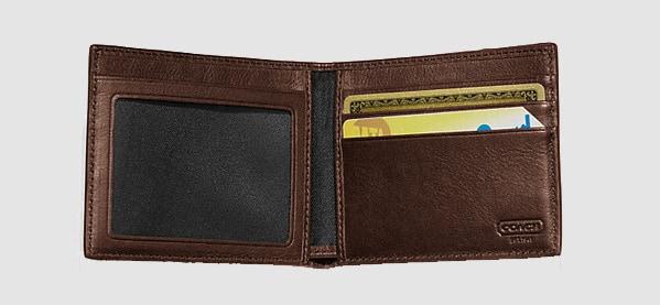 Men's Coach Bleeker Slim Billfold Stripe Leather ID Wallet