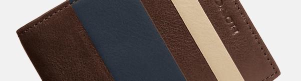 Men's Coach Bleeker Slim Billfold Stripe Leather Wallet