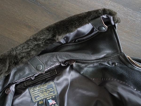 Mens Cockpit Usa G 1 Flight Jacket Removing Mouton Shearling Fur Collar