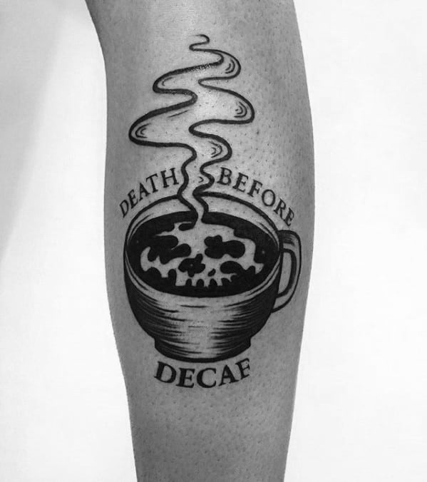 Mens Coffee Cup Tattoo Ideas On Leg