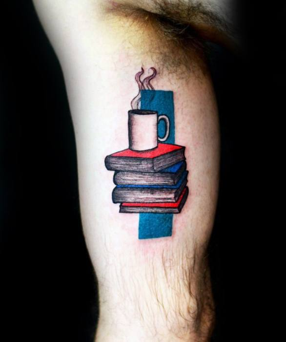 Mens Coffee Cup With Books Inner Arm Bicep Tattoo Design Ideas