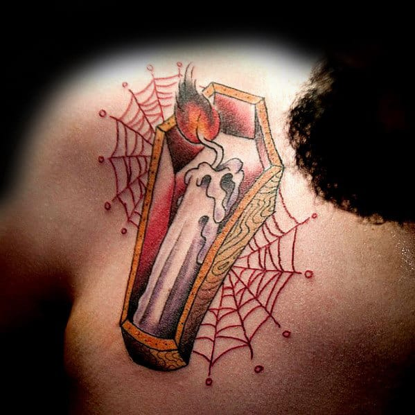 Mens Coffin With Candle And Spider Webs Traditional Guys Chest Tattoo