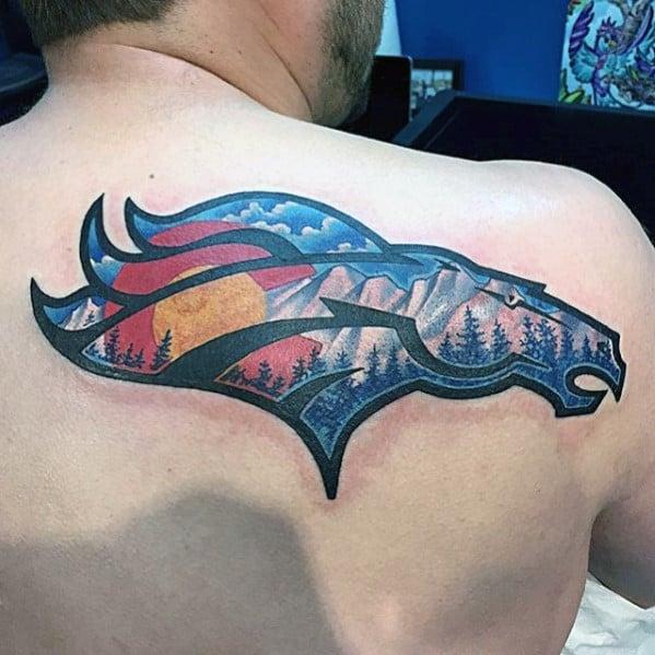Mens Colorado Flag Denver Broncos Logo Back Tattoo