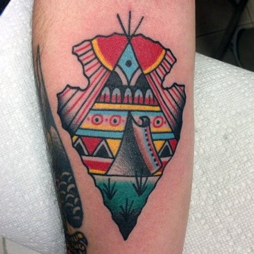 Mens Colorful Arrowhead Tattoo On Forearms For Guys