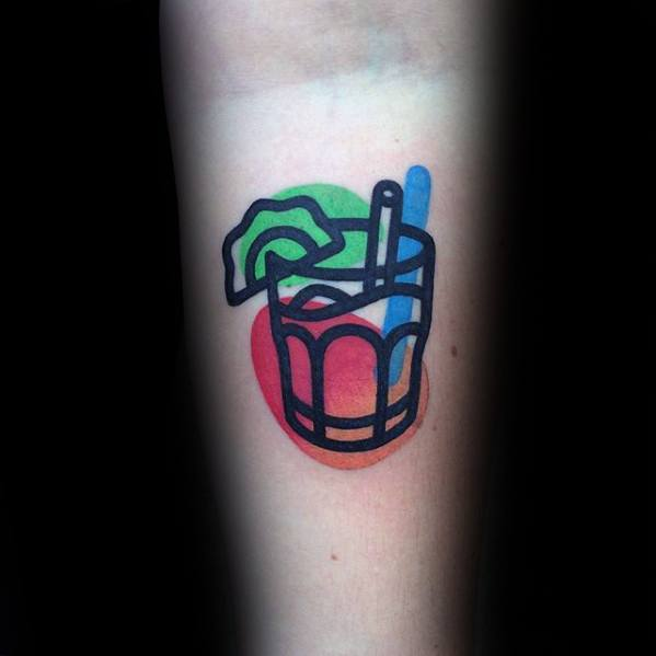 Mens Colorful Dink Glass Small Inner Forearm Tattoo