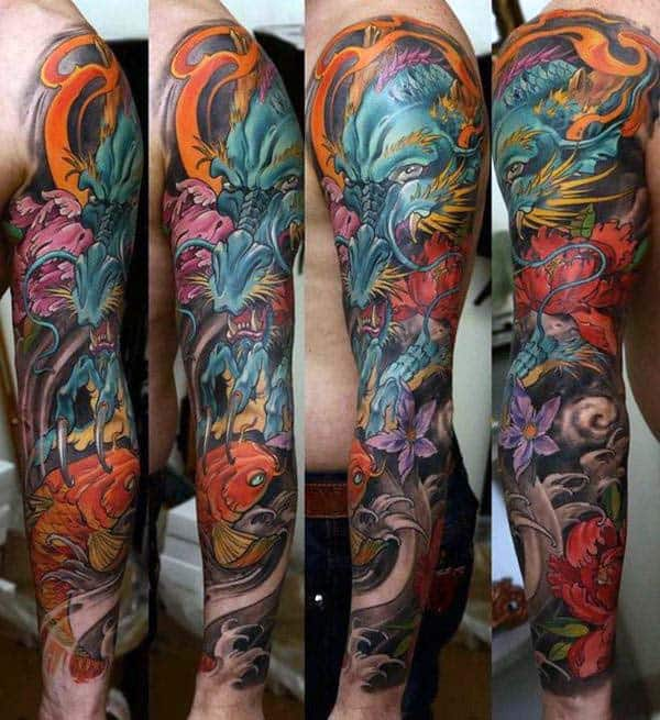 Mens Colorful Full Arm Sleeve Tattoo Of Japanese Dragon And Koi Fish